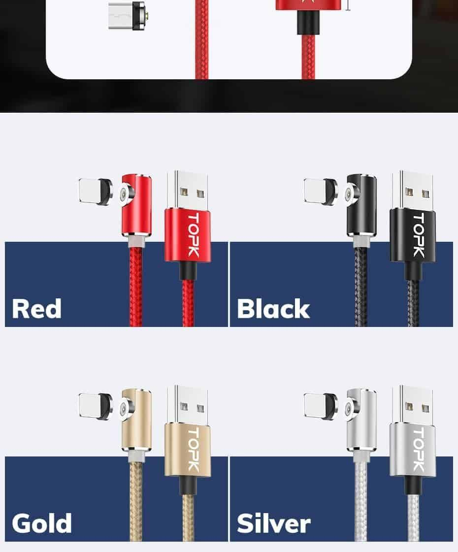 TOPK 1M 2M Magnetic Micro USB Cable for iPhone Samsung Huawei USB Type C Magnetic Charging Cable USB C Mobile Phone Cables