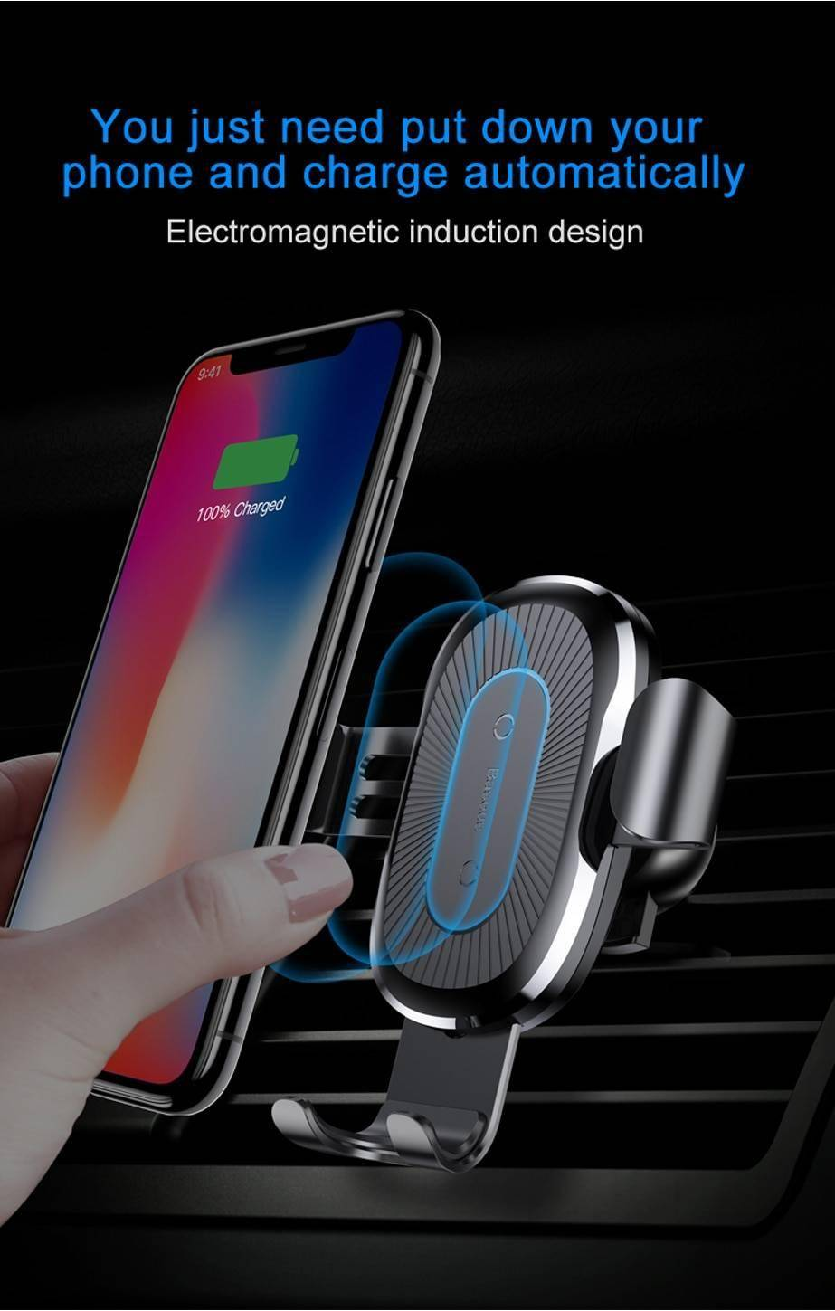 Baseus Qi Wireless Car Charger For iPhone XS XR Samsung S10 Wireless Charger 10W Fast Charging Car Phone Holder