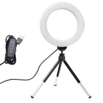 6inch Mini LED Desktop Video Ring Light Selfie Lamp With Tripod Stand USB Plug For YouTube Tik Tok Live Photo Photography Studio Best Sellers iPhone cases, wireless speakers, activity trackers & cool gadgets