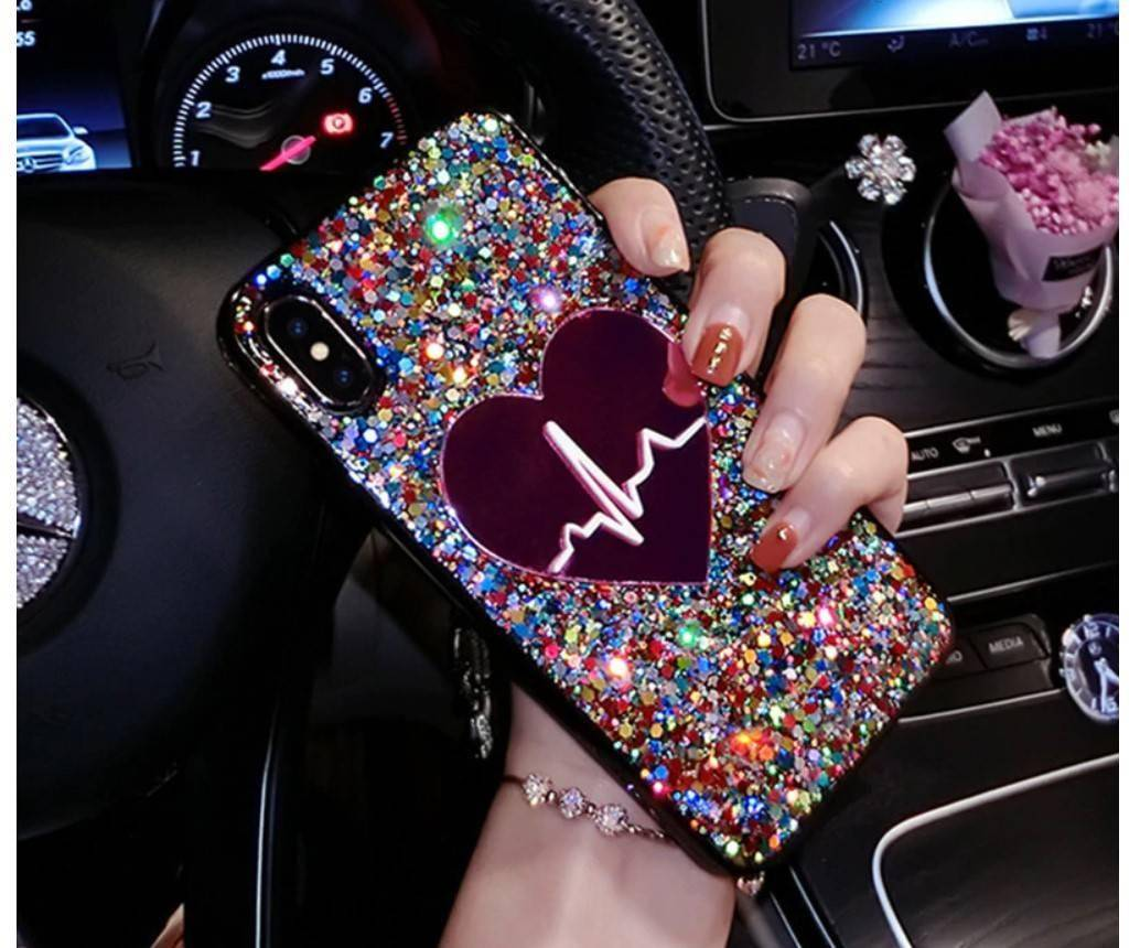 Glitter Heart Case for iPhone